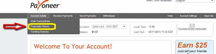 Payoneer card transaction and payment history