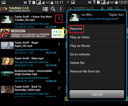 Stop and resume downloading process on android tubemate