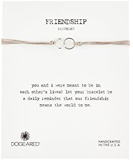 Dogeared Friendship Bracelet Taupe with double Linked Silver Rings