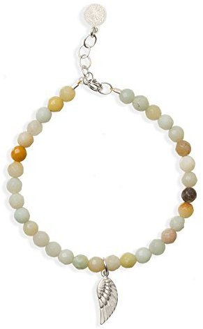 """Dogeared Guardian Angel Wing Amazonite Beaded 6"""" with 1"""" Extender Bracelet"""