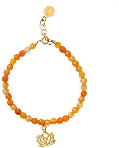 "Dogeared New Beginnings Gold Dipped Lotus Carnelian Beaded 6"" with 1"" Extender Bracelet"