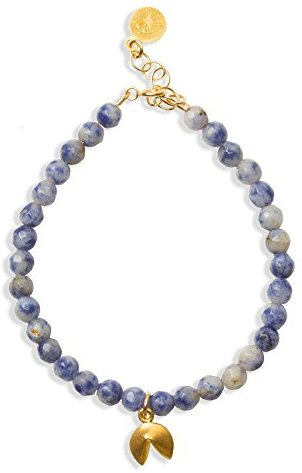 "Dogeared Good Fortune Gold Dipped Fortune Cookie Sodalite Beaded 6"" with 1"" Extender Bracelet"