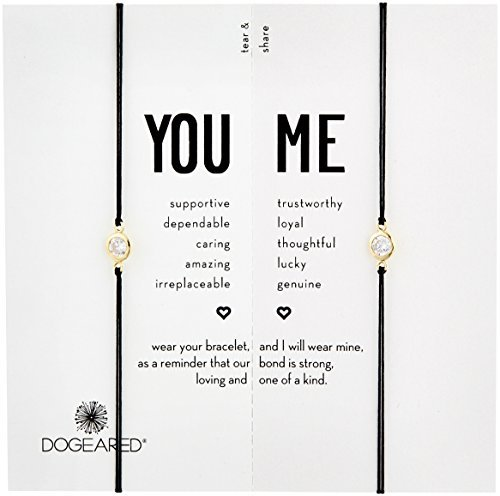 Dogeared You & Me, Crystal on Black Cord Friendship Bracelet