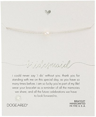 "Dogeared Bridesmaid Small Button Pearl Bracelet, 6""+1"" Extender"