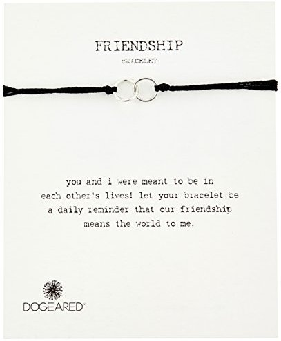 Dogeared Modern Wrist Friendship Double-Linked Rings with Adjustable Bead Closure Bracelet
