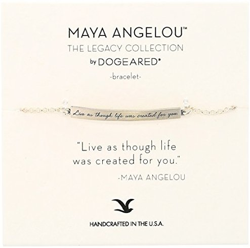 "Dogeared Maya Angelou 2.0 ""Live As Though Life.."" Identification Bracelet, 6""+1.5"" Extender"