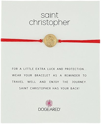 Dogeared St. Christopher on Red Cord Bracelet Necklace