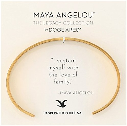 "Dogeared Maya Angelou 2.0 ""I Sustain Myself."" Thin Engraved Cuff Bracelet"