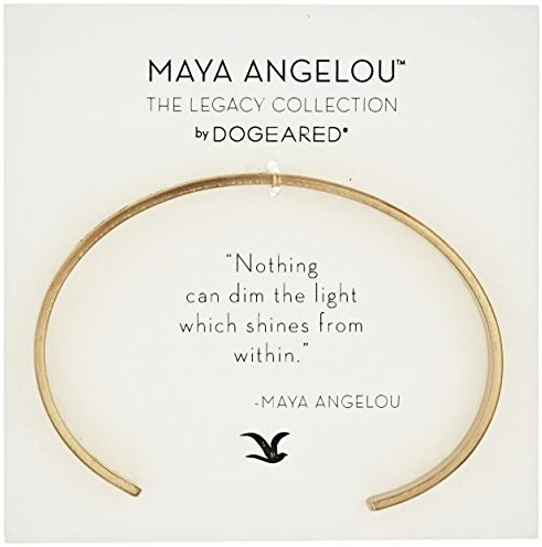 "Dogeared ""Maya Angelou"" Nothing Can Dim The Light Thin Engraved Cuff Bracelet"
