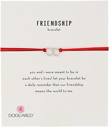 Dogeared Friendship Linked Open Hearts with Mix String Bracelet