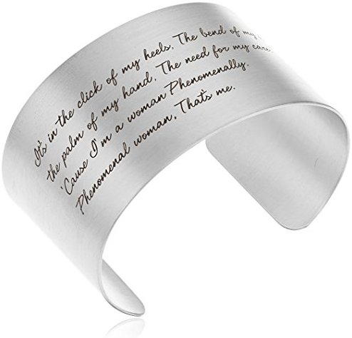 "Dogeared ""Maya Angelou"" Phenomenal Woman Large Engraved Cuff Bracelet"