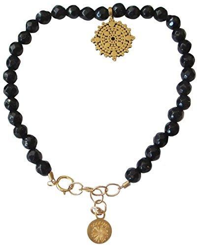 Dogeared Womens Gem Bracelet, Balance Mandala, Small Balance Mandala, Black Onyx Bead