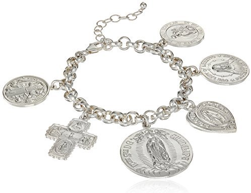 "Dogeared Peace, Love And Protection Saints Multi Charm Bracelet, Sterling Silver, 6"" + 1"" Extension"