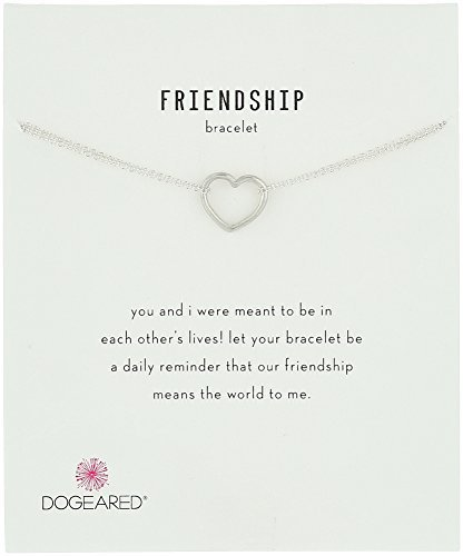 "Dogeared Friendship, Medium Open Heart Chain Bracelet, 6""+1"" Extender"