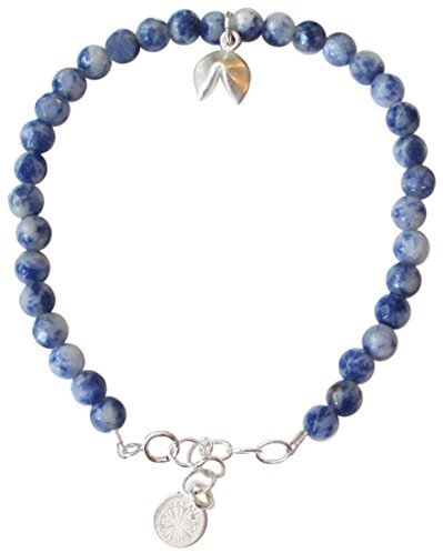 Dogeared Womens Gem Bracelet, Good Fortune, Fortune Cookie Charm, Sodalite Bead