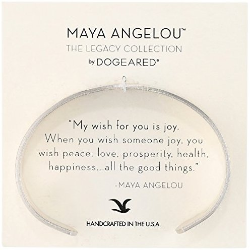 "Dogeared Maya Angelou 2.0 ""Peace, Love, Prosperity."" Medium Engraved Cuff Bracelet"